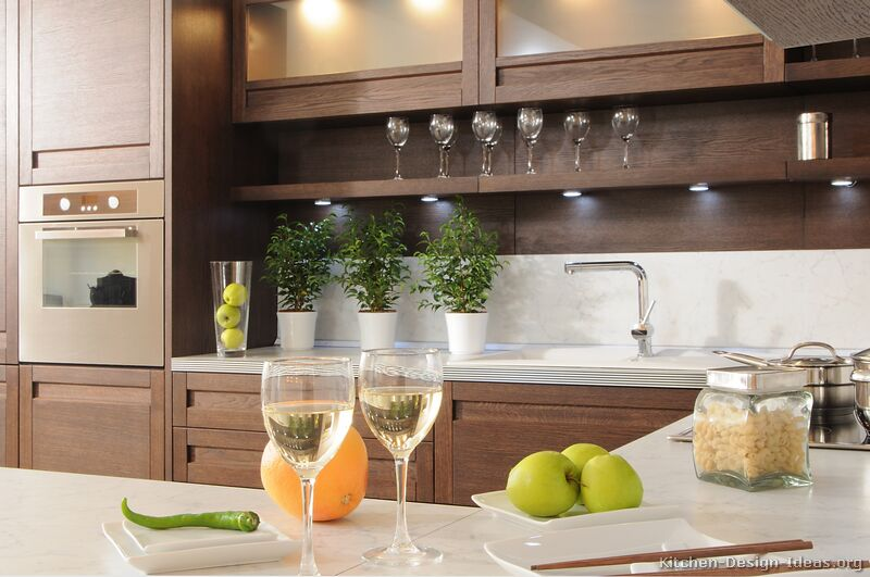 Pictures of Kitchens - Modern - Dark Wood Kitchens ... on Modern Kitchen Countertop Decor  id=58513