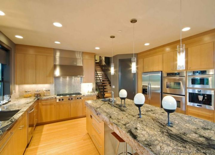 Granite countertops with light wood cabinets for 2 thick granite