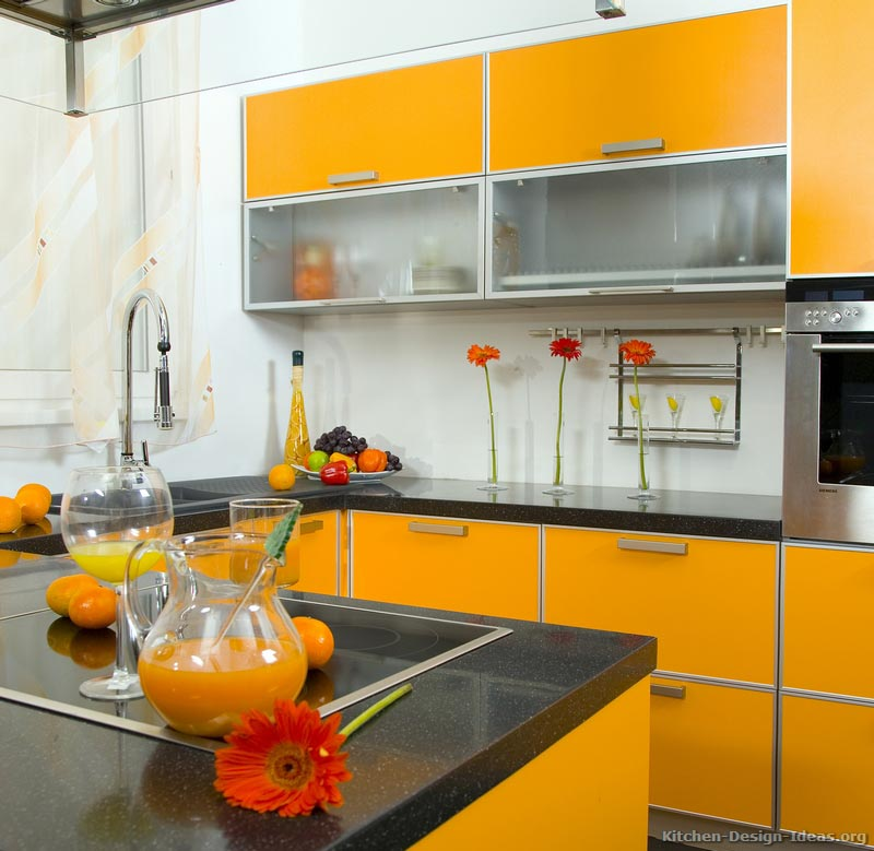 Pictures of Modern Orange Kitchens - Design Gallery on Modern Kitchen Countertop Decor  id=98587