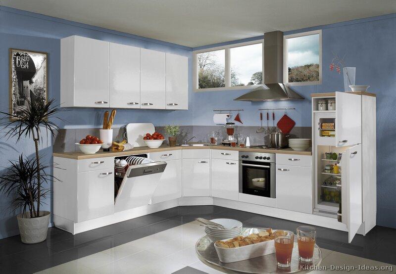White Kitchen Blue Floor White Walls