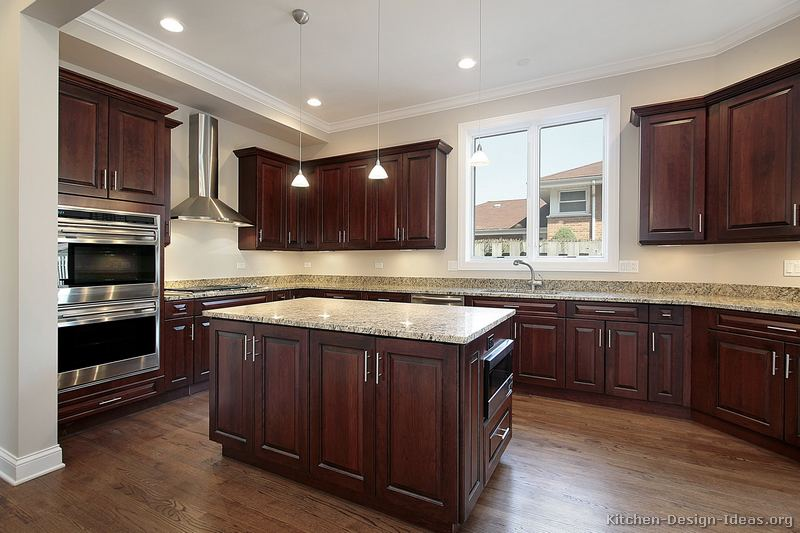 Pictures of Kitchens - Traditional - Dark Wood Kitchens ... on Maple Kitchen Cabinets With Dark Wood Floors Dark Countertops  id=35729