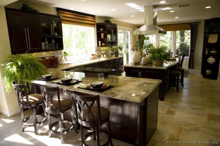 Pictures of Kitchens   Traditional Dark Espresso Kitchen Cabinets Dark wood cabinets and lots of natural light combine nicely in this  welcoming kitchen