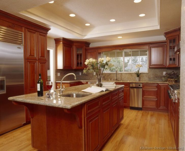 Kitchens Traditional Medium Wood Cherry Color