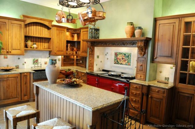 Red Kitchen Walls with Brown Cabinets