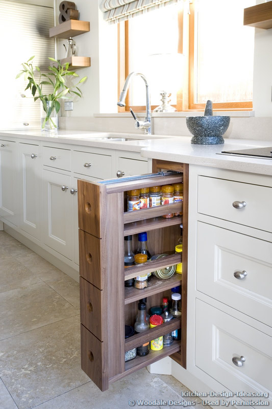 A pull-out spice rack is a great way to keep your spices organized in one place.