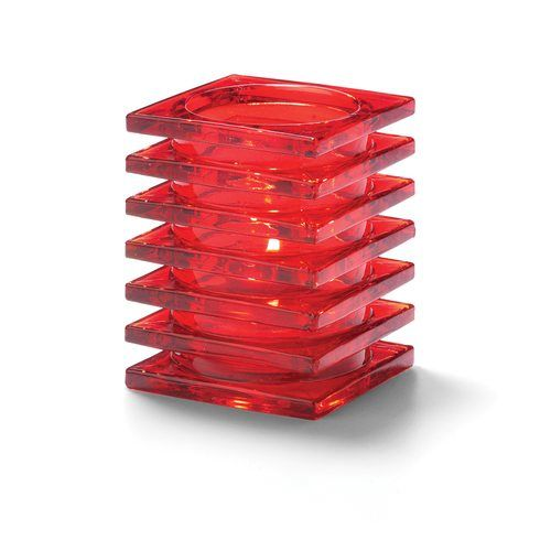 Hollowick 1501R Square Stacked Glass Lamp for HD12, HD17, HD26, 2.88×3.75″, Ruby