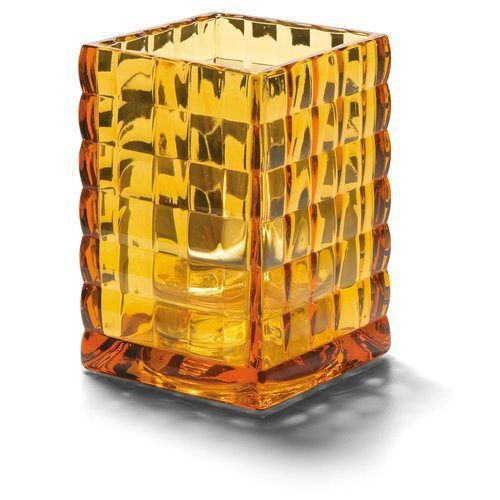 Hollowick 1533A Square Optic Block Glass Lamp, 2-58″W x 3-3/4″H, Amber