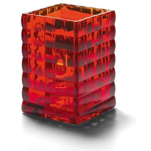 Hollowick 1533R Square Optic Block Glass Lamp, 2-5/8″W x 3-3/4″H, Ruby