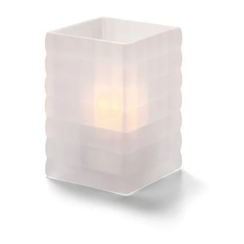 Hollowick 1533SC Square Optic Block Glass Lamp, 2-5/8″W x 3-3/4″H, Satin Crystal