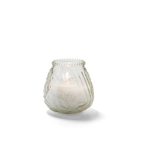 Hollowick KG60C-12 Knobby Wax Candle Lamp, 3-3/4″ dia. x 3-3/4″H, 60 hour, glass, clear