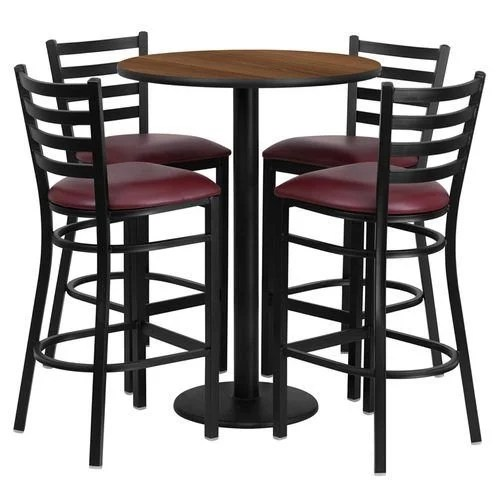 "30"" Round Walnut Laminate Table Set with 4 Ladder Back Metal Barstools – Burgundy Vinyl Seat"
