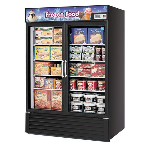 "Turbo Air TGF-49FBE 54.37"" Two-Section Display Freezer w/ Swinging Doors - Bottom Mount Compressor"