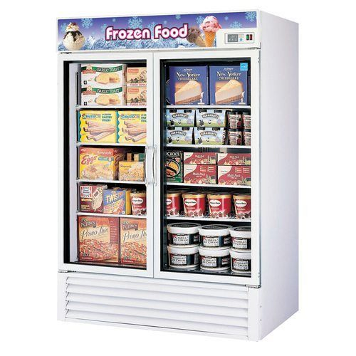 "Turbo Air TGF-49FE 54.37"" Two-Section Display Freezer w/ Swinging Doors - Bottom Mount Compressor"