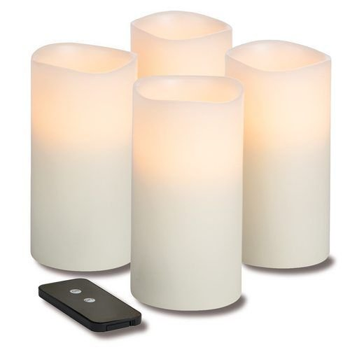 Hollowick WP36ITR TruFlame LED Pillar Candle w/ Remote & 3-Stage Timer, 6″ High