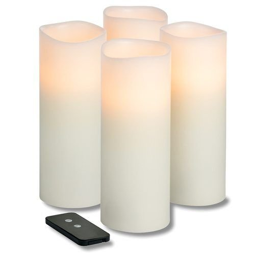 Hollowick WP38ITR TruFlame LED Pillar Candle w/ Remote & 3-Stage Timer, 8″ High