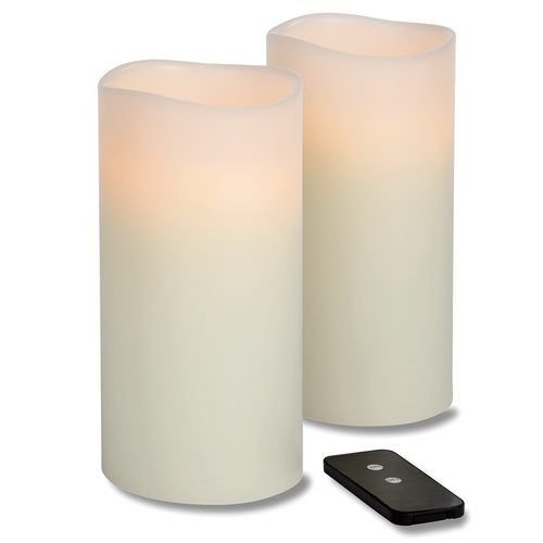 Hollowick WP48ITR TruFlame LED Pillar Candle w/ Remote, 4″ Diameter, 8″ High