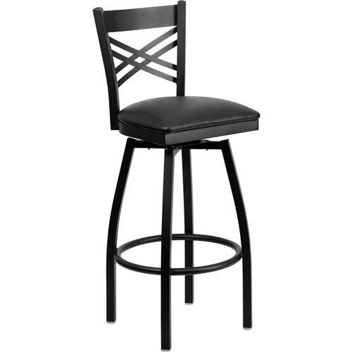 Black X Back Swivel Metal Barstool - Black Vinyl Seat