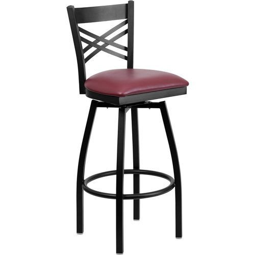 Black X Back Swivel Metal Barstool - Burgundy Vinyl Seat