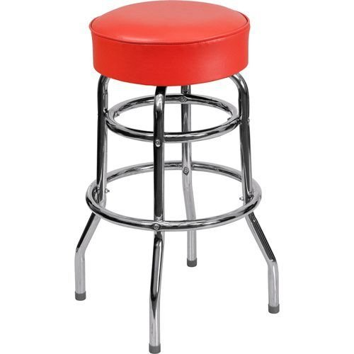 Double Ring Chrome Barstool with Red Vinyl Seat