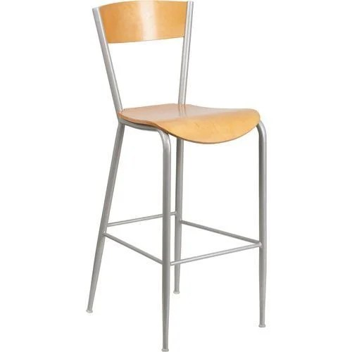 Silver Metal Barstool – Natural Wood Back and Natural Wood Seat