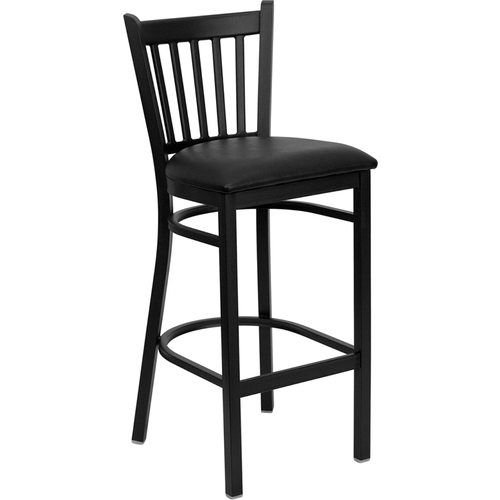 Black Vertical Back Metal Barstool - Black Vinyl Seat