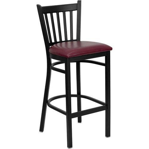 Black Vertical Back Metal Barstool - Burgundy Vinyl Seat