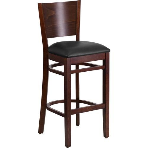 Solid Back Walnut Wooden Restaurant Barstool - Black Vinyl Seat