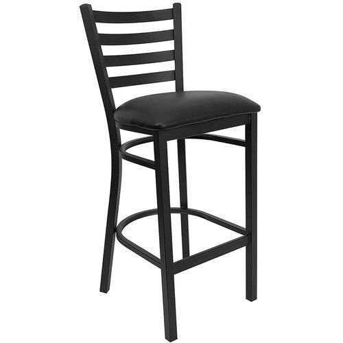 Black Ladder Back Metal Barstool - Black Vinyl Seat