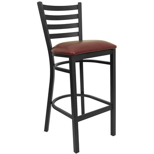 Black Ladder Back Metal Barstool - Burgundy Vinyl Seat
