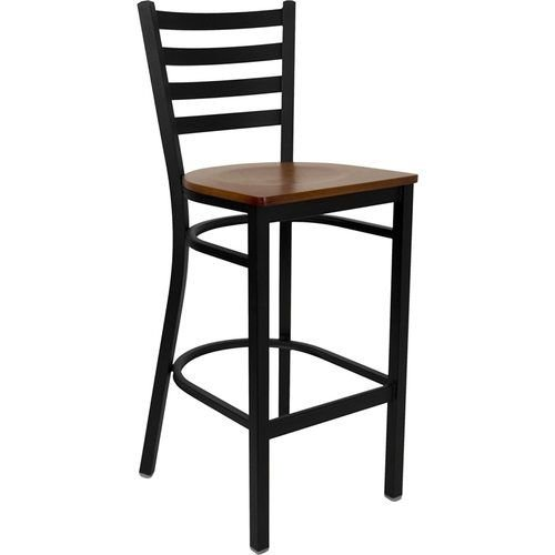 Black Ladder Back Metal Barstool - Cherry Wood Seat