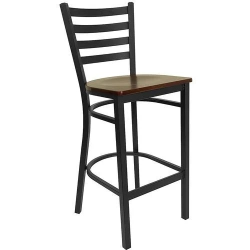 Black Ladder Back Metal Barstool - Mahogany Wood Seat