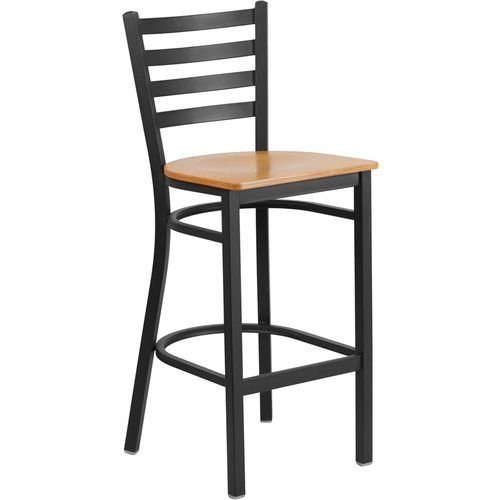 Black Ladder Back Metal Barstool - Natural Wood Seat