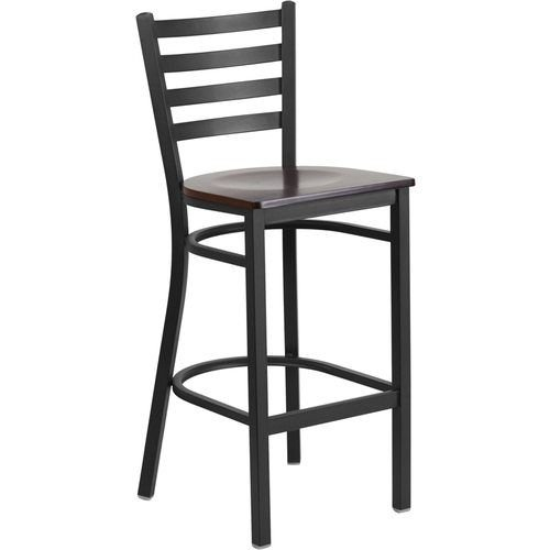 Black Ladder Back Metal Barstool - Walnut Wood Seat