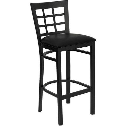 Black Window Back Metal Barstool - Black Vinyl Seat