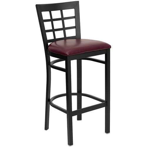 Black Window Back Metal Barstool - Burgundy Vinyl Seat