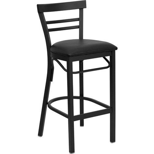 Black Ladder Back Metal Restaurant Barstool - Black Vinyl Seat