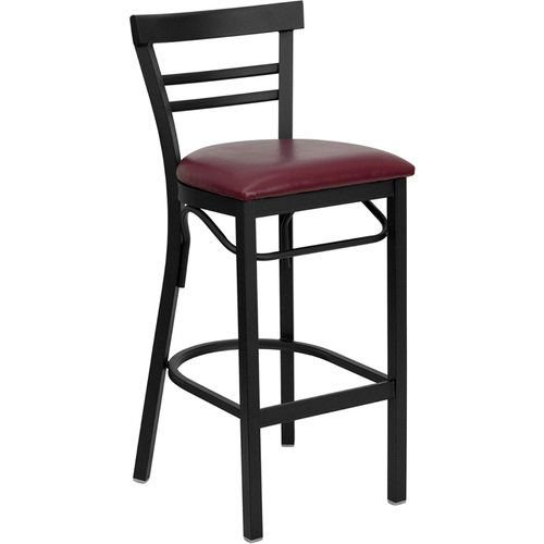 Black Ladder Back Metal Restaurant Barstool - Burgundy Vinyl Seat
