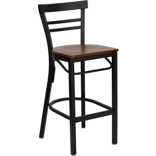Black Ladder Back Metal Restaurant Barstool - Cherry Wood Seat