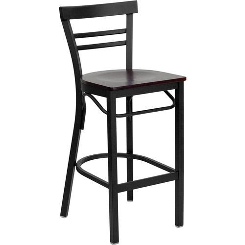Black Ladder Back Metal Restaurant Barstool - Mahogany Wood Seat