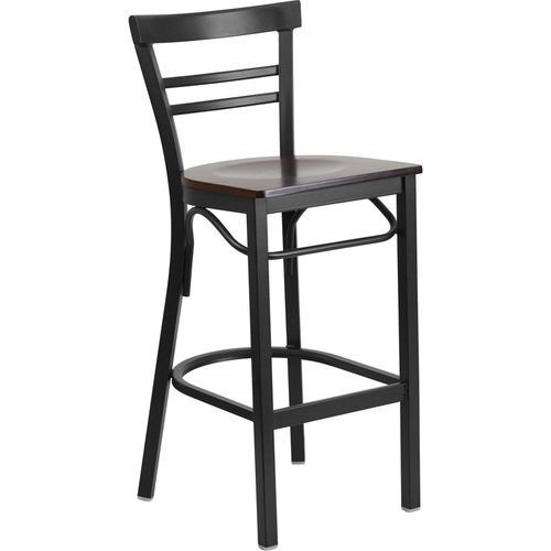 Black Ladder Back Metal Restaurant Barstool - Walnut Wood Seat