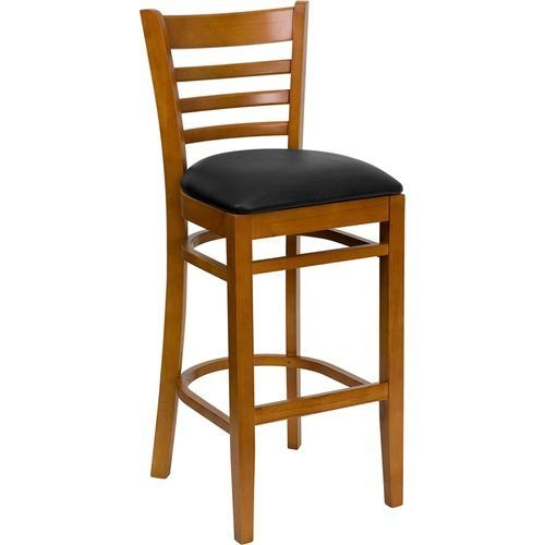 Cherry Finished Ladder Back Wooden Barstool - Black Vinyl Seat