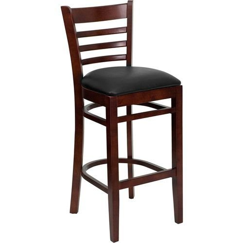 HERCULES Series Mahogany Finished Ladder Back Wooden Restaurant Barstool – Black Vinyl Seat