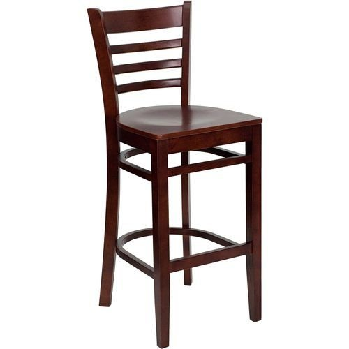 HERCULES Series Mahogany Finished Ladder Back Wooden Restaurant Barstool