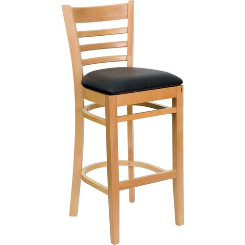 HERCULES Series Natural Wood Finished Ladder Back Wooden Restaurant Barstool – Black Vinyl Seat