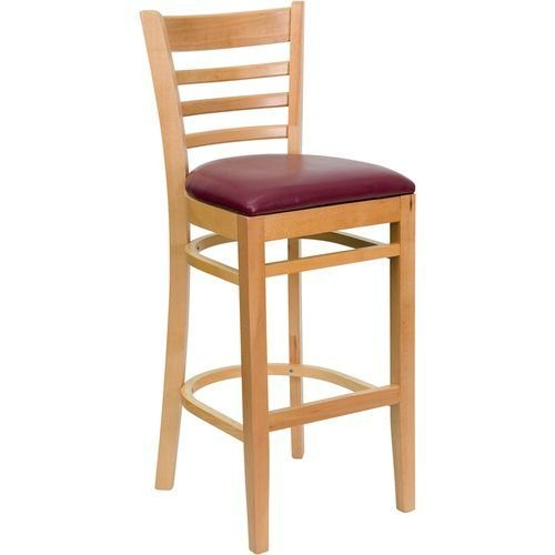 HERCULES Series Natural Wood Finished Ladder Back Wooden Restaurant Barstool – Burgundy Vinyl Seat