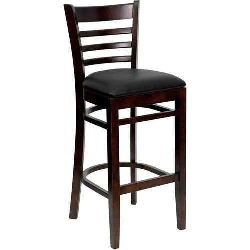 HERCULES Series Walnut Finished Ladder Back Wooden Restaurant Barstool – Black Vinyl Seat
