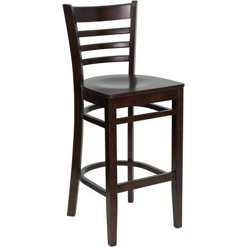 Walnut Finished Ladder Back Wooden Barstool - Walnut Wood Seat