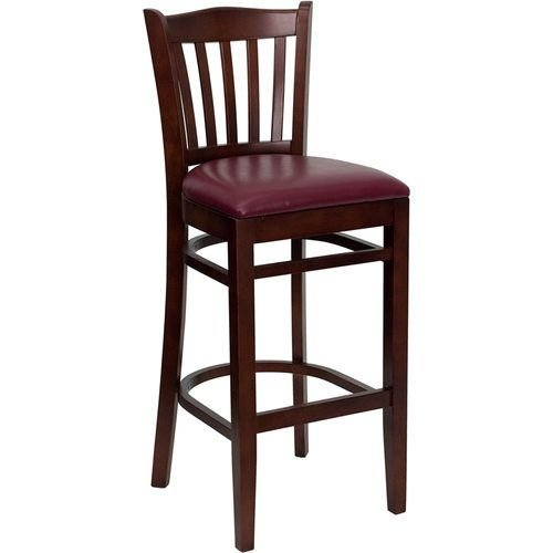 HERCULES Series Mahogany Finished Vertical Slat Back Wooden Restaurant Barstool – Burgundy Vinyl Seat