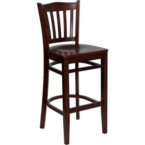 HERCULES Series Mahogany Finished Vertical Slat Back Wooden Restaurant Barstool
