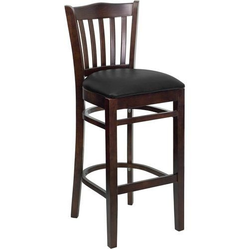 HERCULES Series Walnut Finished Vertical Slat Back Wooden Restaurant Barstool – Black Vinyl Seat